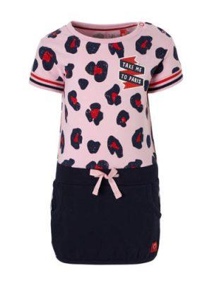 Quapi baby jurk met panterprint Renise roze/donkerblauw