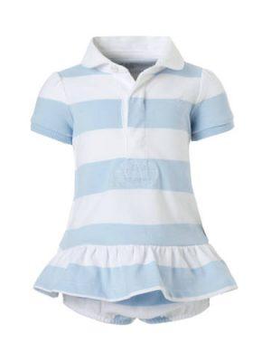 POLO Ralph Lauren gestreepte baby jurk met broek lichtblauw