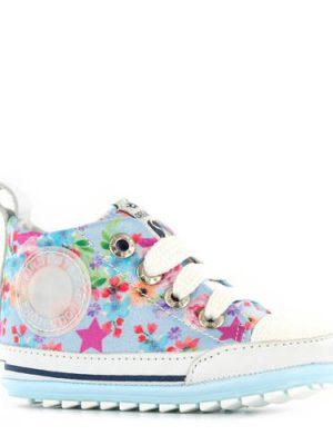 Shoesme gebloemde babyschoenen blauw