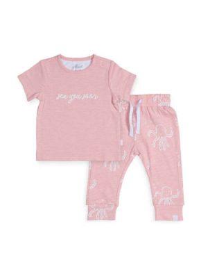Jollein T-shirt + joggingbroek Octopus roze