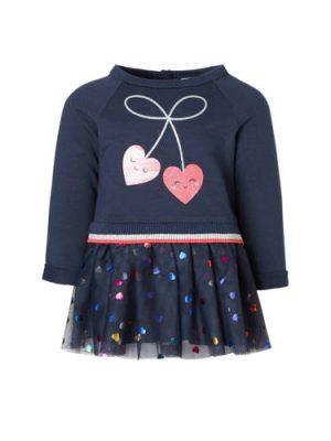 C&A Baby Club jurk met hartjes en mesh blauw