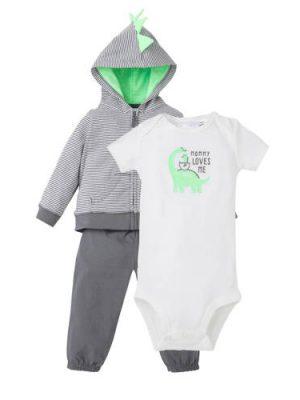 Carter's baby vest met broek en romper grijs/wit