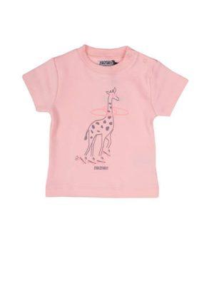 Zero2three baby T-shirt met giraf print roze