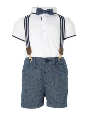 C&A Baby Club polo + korte broek wit/blauw