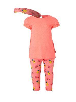 C&A Baby Club T-shirt + broek + haarband met all over print