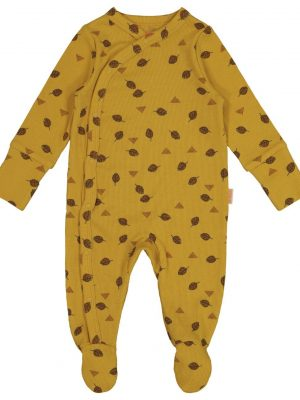 newborn jumpsuit met bamboe geel