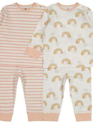 2-pak babypyjama's regenboog lichtroze