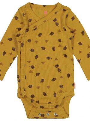 newborn overslagromper met bamboe geel